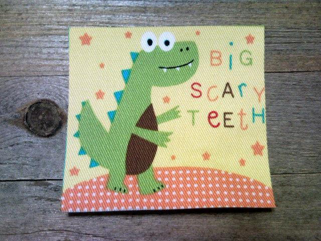 Adorable smiling dinosaur t rex fabric by nicklepicklequilts on zibbet adorable smiling dinosaur t rex fabric no sew iron on applique ready to ship m4hsunfo
