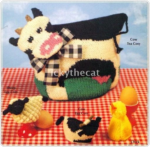 Instant PDF Digital Download Vintage Knitting Pattern Cow Tea Cozy Cosy &