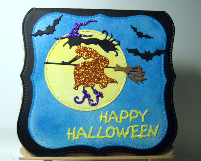Witch on Broom and 3 Bats Cutting Die Halloween Set