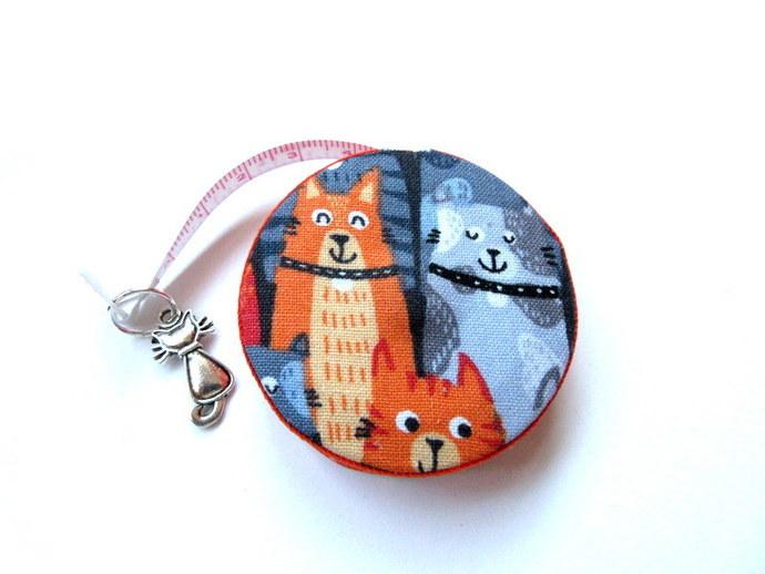 Measuring Tape Gray and Orange Cats Small Retractable Tape Measure