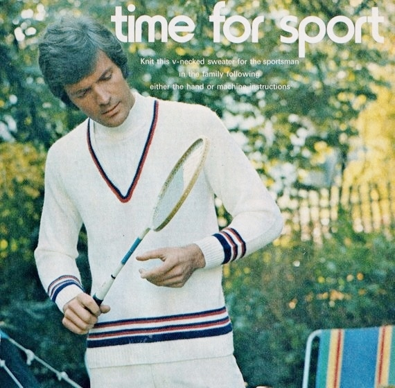 Instant PDF Digital Download Vintage MACHINE Knitting Pattern Mans Mens Cricket