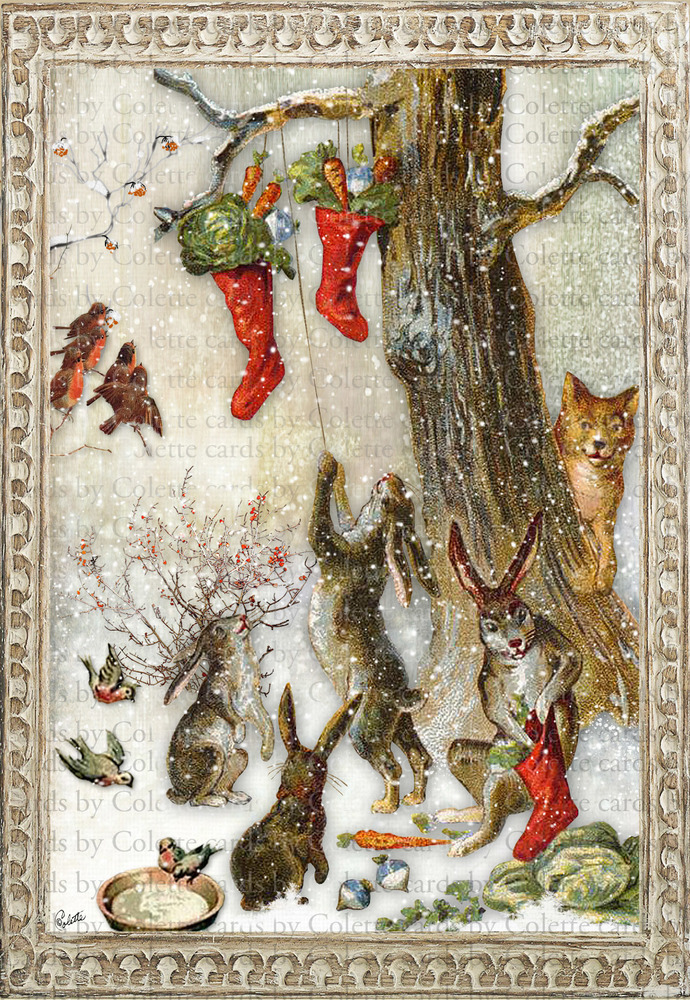 Christmas Treats for the Bunnies Digital Collage Greeting Card2533