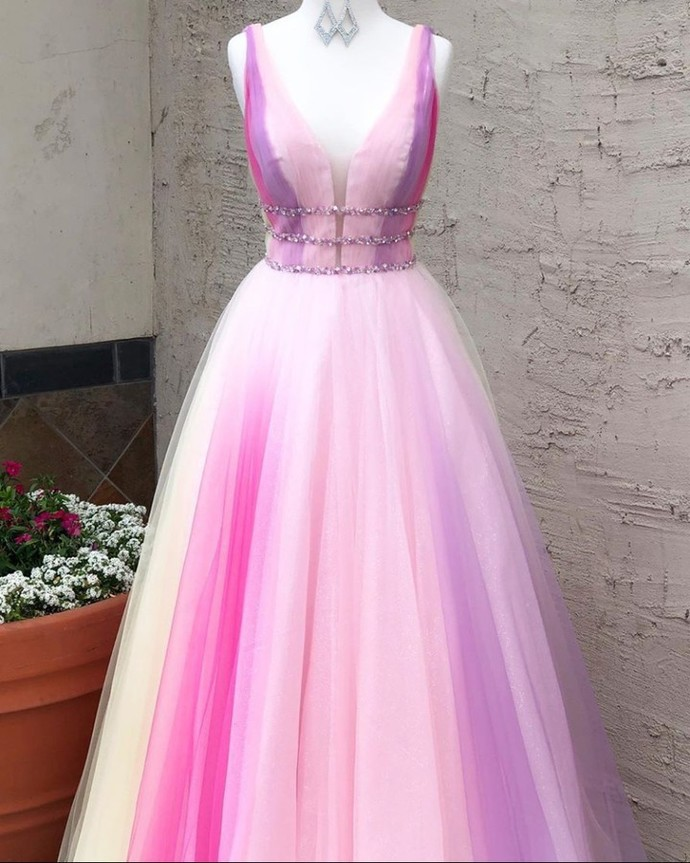 Gradient Prom Dress,Tulle Prom Gown,A-Line Evening Dress,V-Neck Prom Gown 0087