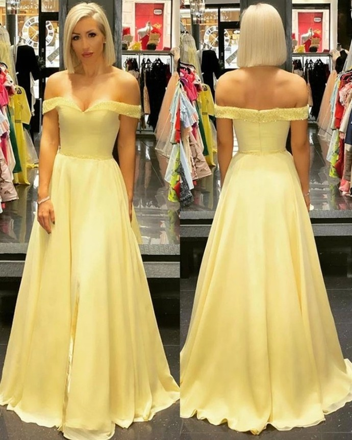 Yellow Prom Dress,Chiffon Prom Gown,A-Line Evening Dress,Off the Shoulder Prom