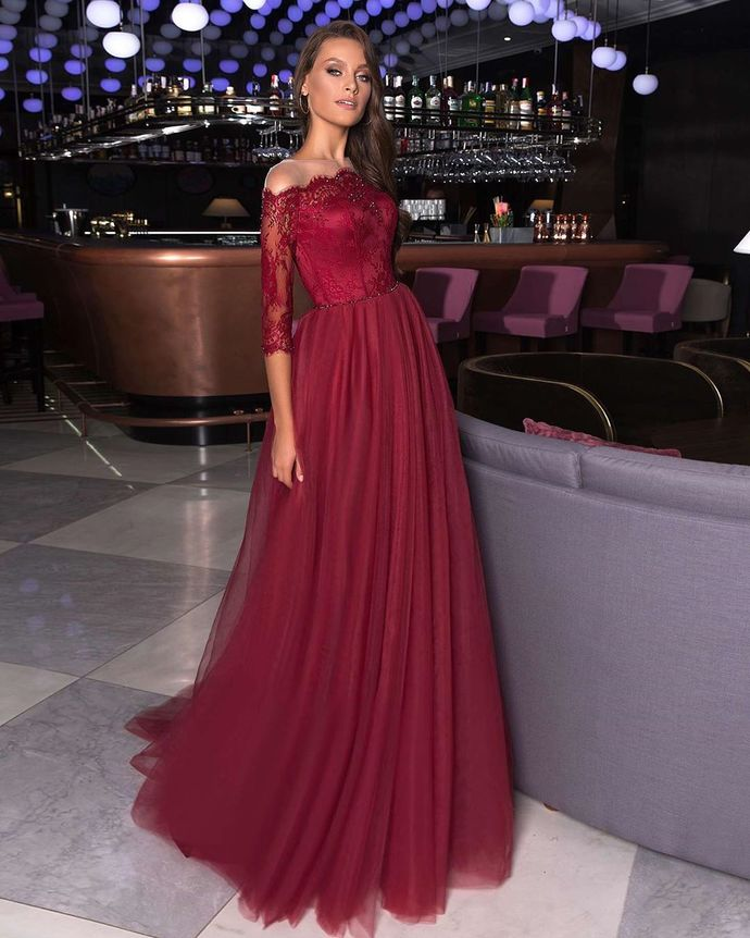 Burgundy Prom Dress,Tulle Prom Gown,Off the Shoulder Evening Dress,Half-Sleeves