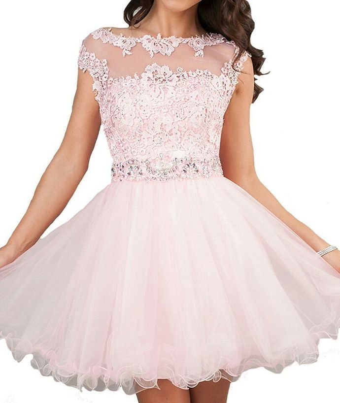 Cap Sleeve Pink Appliques Short Homecoming Dress Prom Party Gown