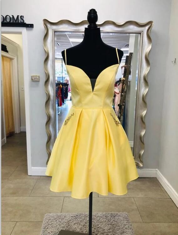 Yellow Straps Short Homecoming Dress