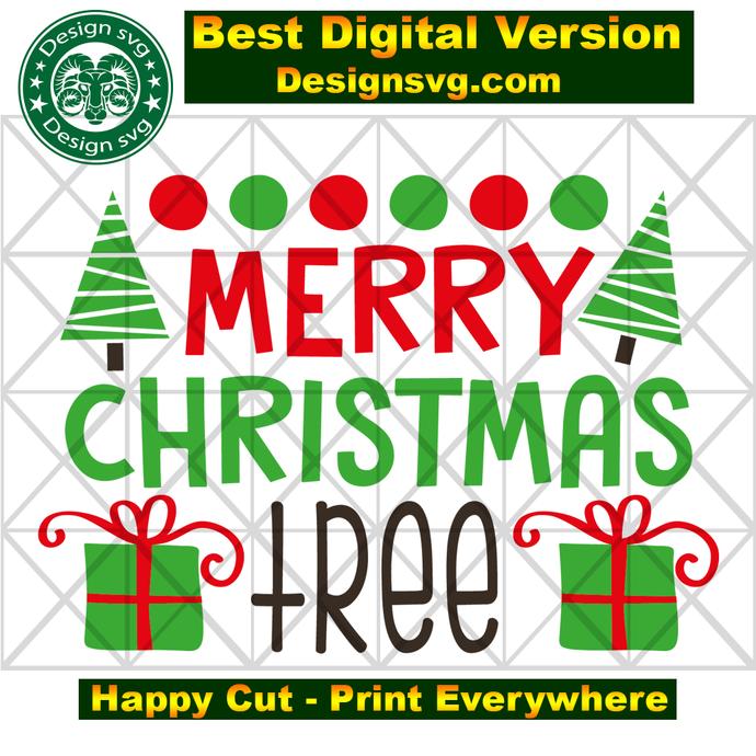Merry christmas tree, tree svg, christmas tree, tree gift, xmas gift, merry