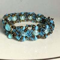 Blue Flower Rhinestone Encrusted Crystal Bracelet