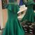 One Shoulder Dark Green Satin Mermaid Evening Dress, Formal Women Dress