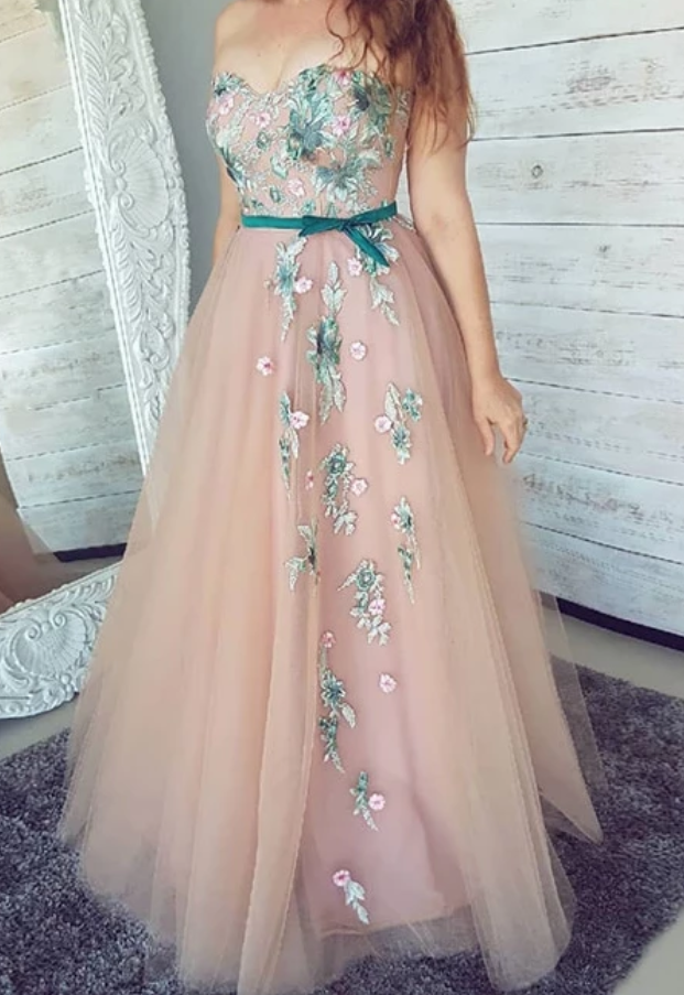 Princess Tulle A Line Prom Dress, Sleeveless Appliques Prom Dresses