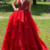 Charming V neck Red Open Back Ruffles Tulle Formal Prom Dress with Appliques