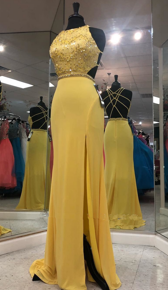 Real Photo Beaded Yellow Split Slit Evening Party Dress, Backless Chiffon Long