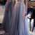 Long Sleeve Beaded Prom Dress with Removable Skirt, Open Back Party Gowns