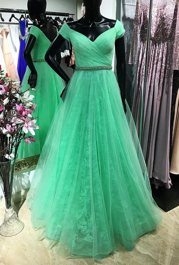 Elegant Green A Line Prom Dress, Tulle Green Evening Dress