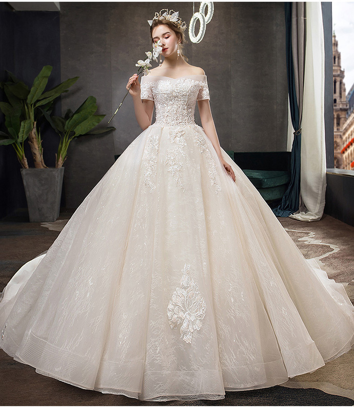 2020 French Light Wedding Dress Bridal Gown Luxurious Wedding Dress Champagne