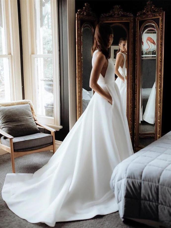 Simple Slim Wedding Dress,Beautiful Bridal Gown,White Bridesmaid Dress