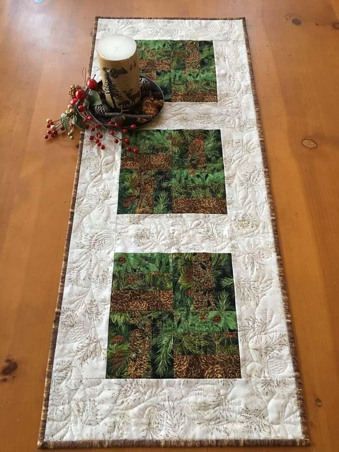 Table Runner Pine Cone Handmade Cabin Decor