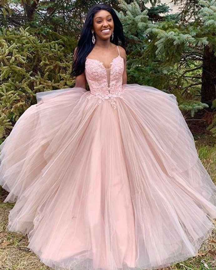 Pink Prom Dress,Tulle Prom Gown,Appliques Evening Dress,Spaghetti Straps Prom