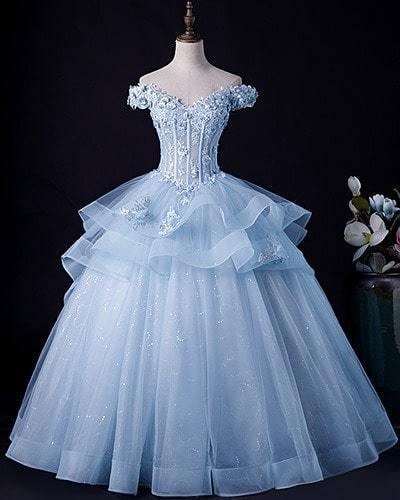 Blue Prom Dress,Tulle Prom Gown,Appliques Evening Dress,Ball Gown Prom Gown 0096