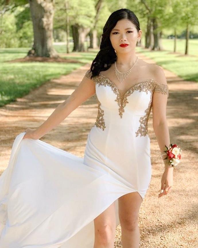 Elegant Off the Shoulder Mermaid White and Gold Evening Dress