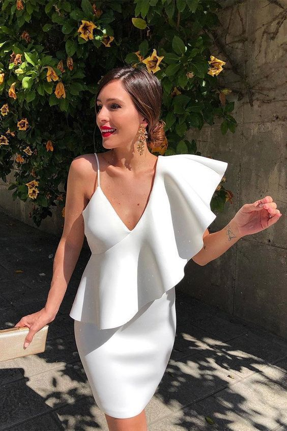 One-Shoulder Asymmetrical Ruffle Party Dress