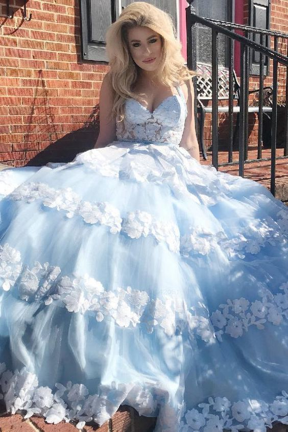 White Gorgeous Halter Blue Long Ball Gown With White Lace