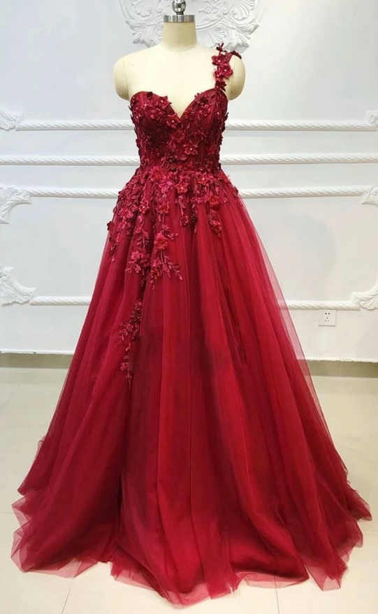 Elegant One Shoulder A Line Prom Dress with Appliques, Burgundy Tulle Evening