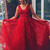Elegant V neck Red A Line Prom Dress with Appliques, Tulle Evening Dress