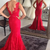 Charming V neck Red Lace Mermaid Evening Dress, Sexy Long Prom Dress