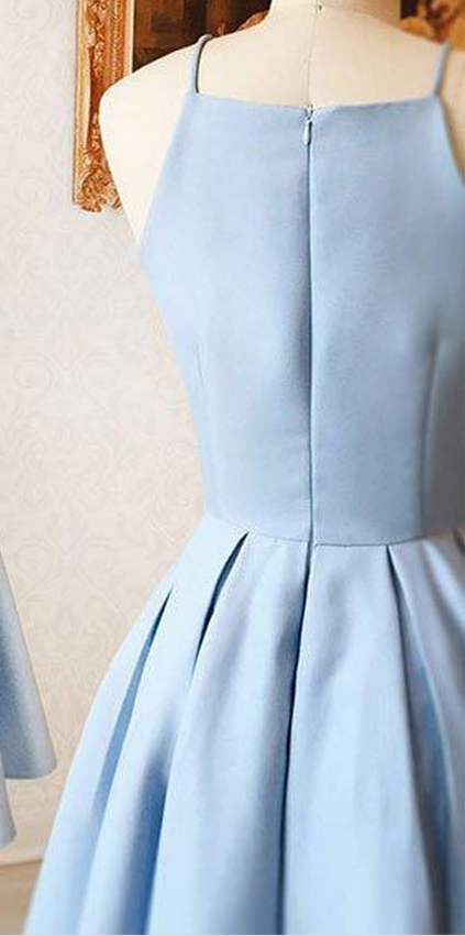 Cute Light Blue Party Dress, Satin Short Homecoming Dress