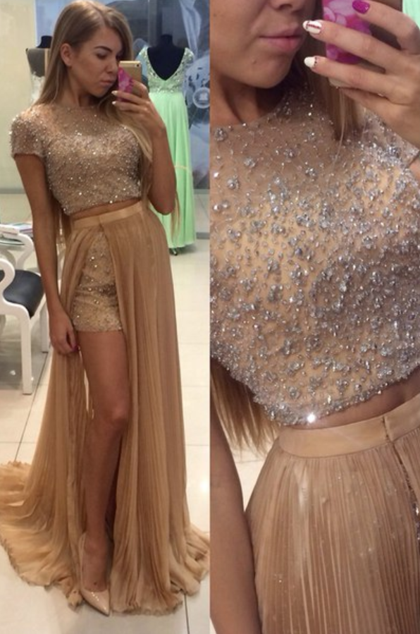 Champagne Beaded Long Prom Dress, Sexy Split Slit Evening Dress