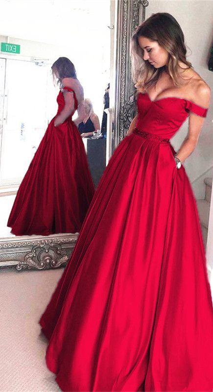 Long Red Satin V-neck Prom Long Dresses Off Shoulder Evening Gowns Beaded Sashes