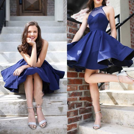 Prom Dress Classy, Halter See Through Navy Blue A Line Pleated Short Sleeveless