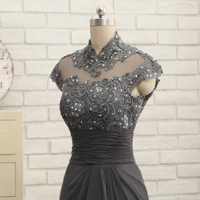 Best-selling gray scale bride's mother dress mermaid sleeve lace Cape Town a