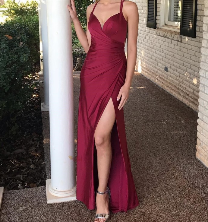 Elegant Mermaid Burgundy Long Prom Dress,Sweetheart Open Back Evening Dresses