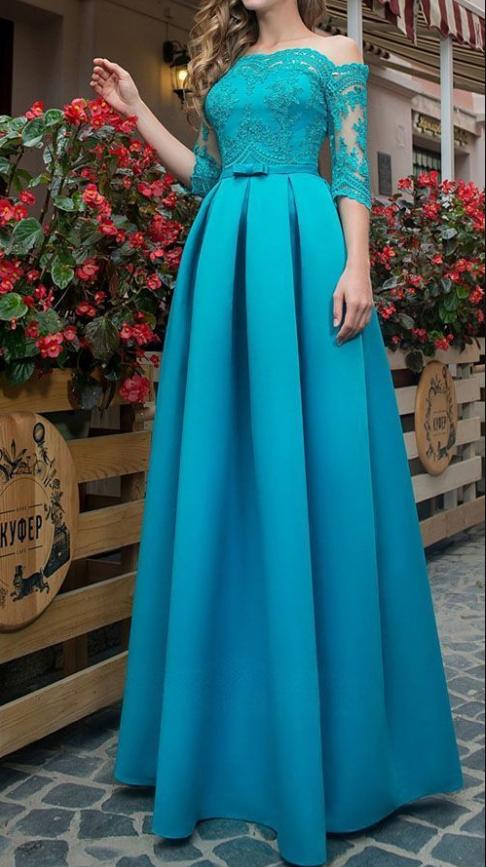 Satin Off-the-shoulder Neckline A-line Prom Dresses With Lace Appliques