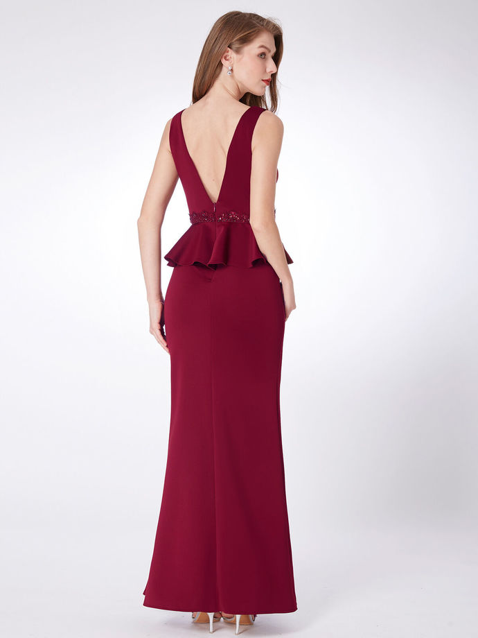 Long Split Gown V-neck Burgundy Fishtail Evening Party Dresses
