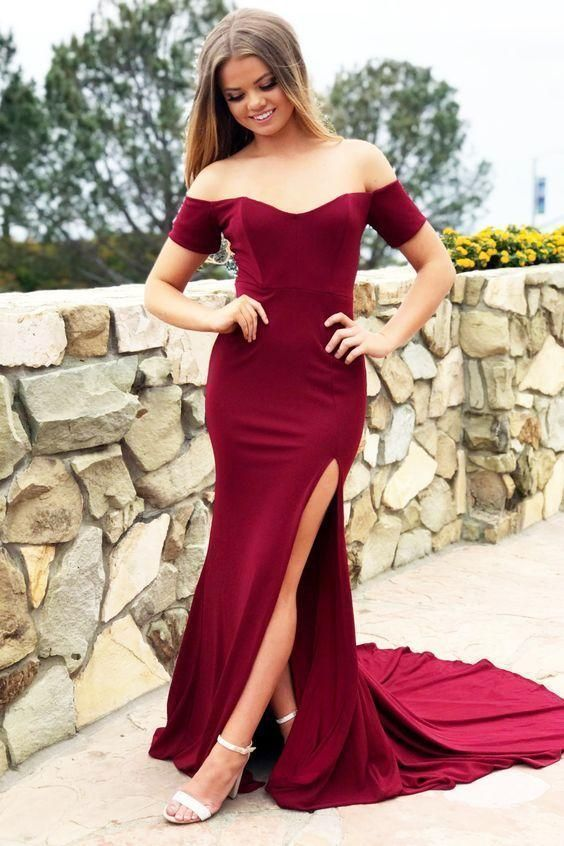 Unique Prom Dresses, Sexy Burgundy Off Shoulder Side Slit Sheath Sweetheart