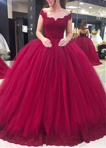 Off the Shoulder Burgundy Ball Gown Wedding Dresses with Lace Applique