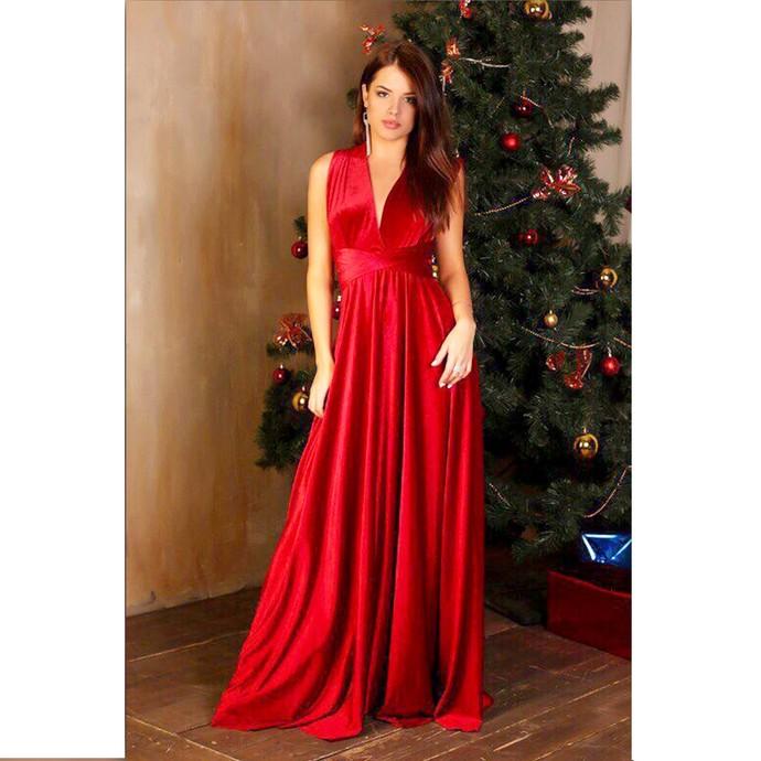 Women Velvet Wrap Infinity Convertible Dress, Bridesmaid Velvet Dress, Prom