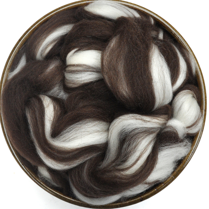Corriedale Wool Roving - Natural Brown and White