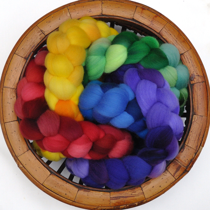 Hand Dyed Rainbow Color 5-pack  - Targhee wool spinning fiber - 10 ounces