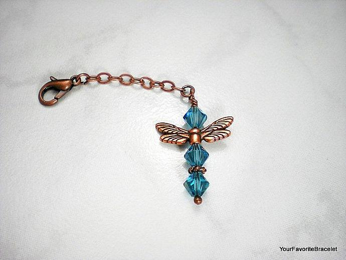 Copper Dragaonfly Blue Crystal Charm