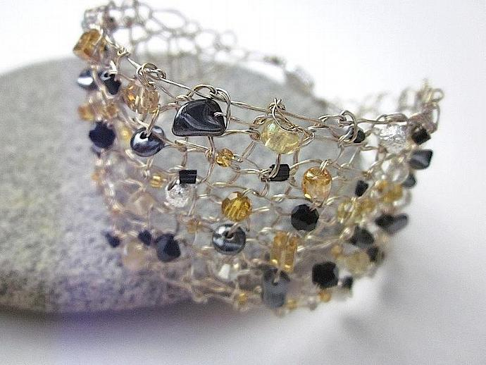 Handcrafted Jewelry Knit Silver Gold Wire Bracelet