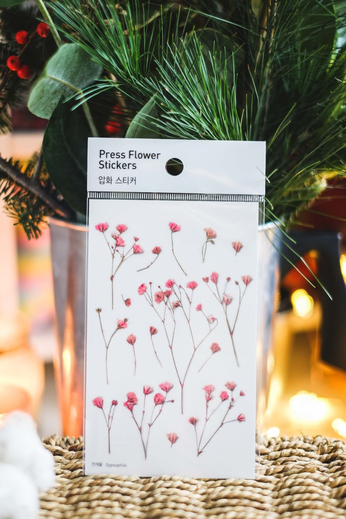Appree Press Leaf Stickers - Gypsophila, see-through backing PET stickers