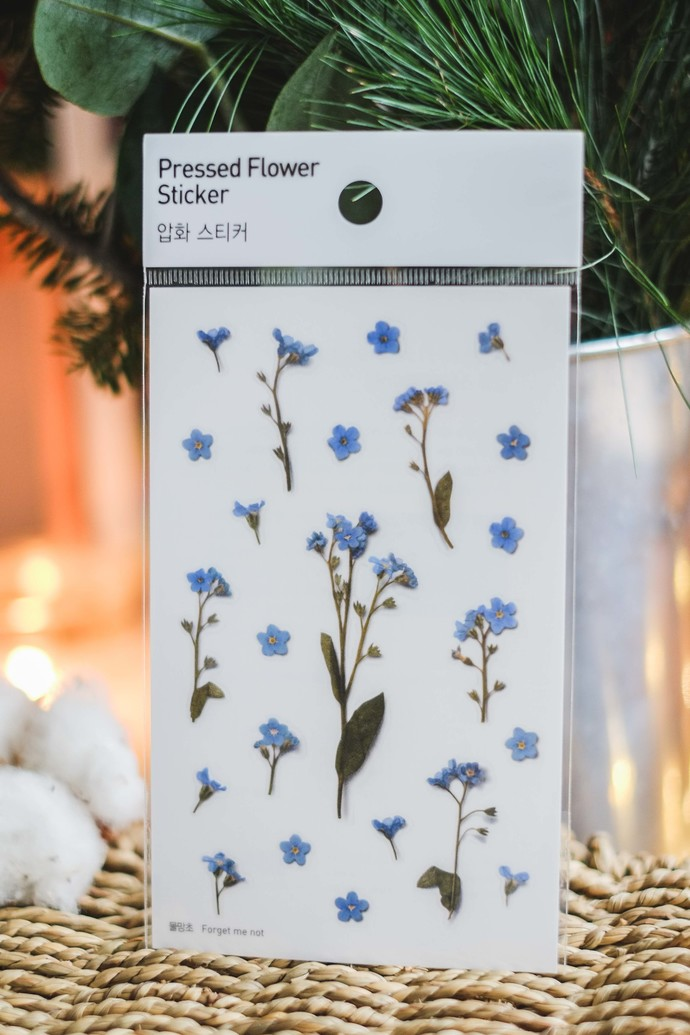 Appree Press Leaf Stickers - Forget-Me-Not, see-through backing PET stickers