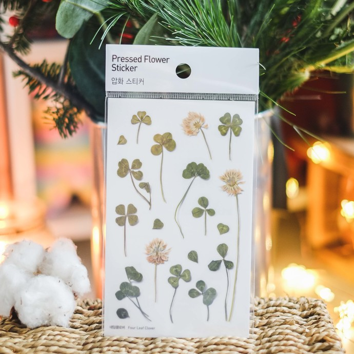 Appree Press Leaf Stickers - Four Leaf Clover, see-through backing PET stickers