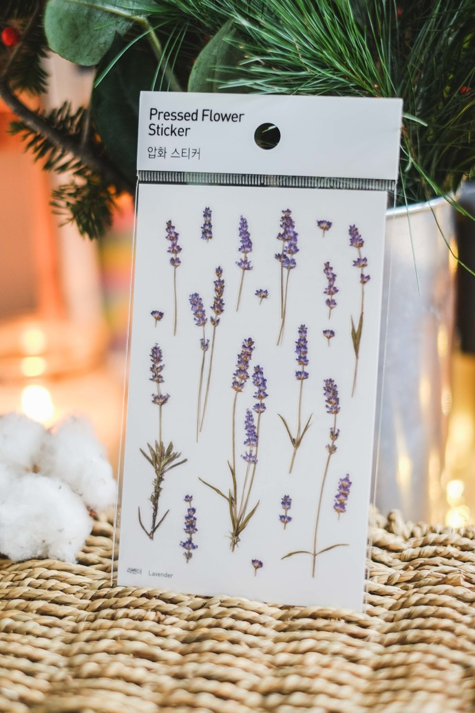 Appree Press Leaf Stickers - Lavender, see-through backing PET stickers