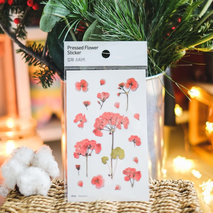 Appree Press Leaf Stickers - Geranium, see-through backing PET stickers